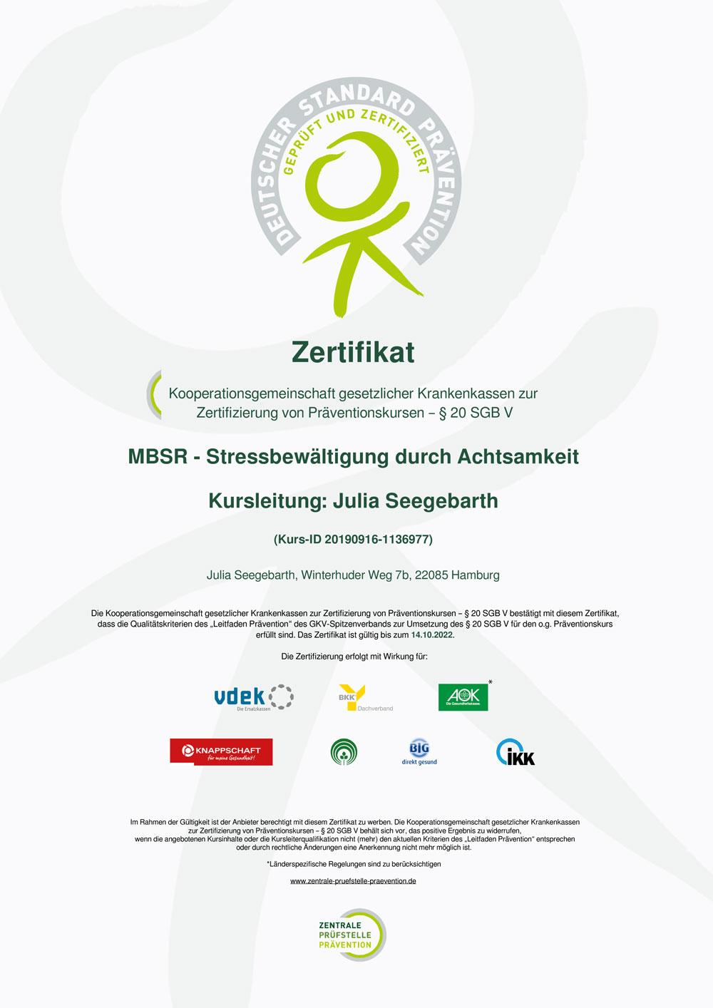 Zertifikat – Deutscher Standard Prävention