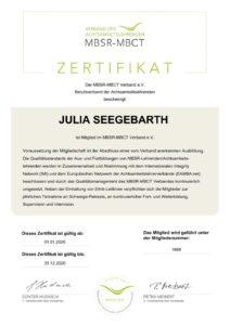 MBSR-MBCT Zertifikat Julia Seegebarth